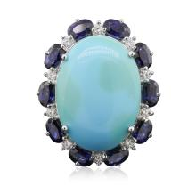 14KT White Gold 11.82ct Turquoise and Sapphire Ring
