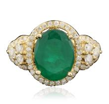 14KT Yellow Gold 3.25ct Emerald and Diamond Ring