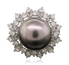 14KT White Gold 12.2mm Pearl and Diamond Ring