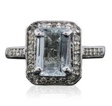 14KT White Gold 2.15ct Aquamarine and Diamond Ring