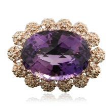 14KT Rose Gold 3.04ct Amethyst and Diamond Ring