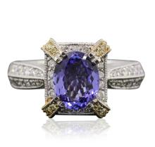 18KT Two-Tone Gold 1.69ct Tanzanite and Diamond Ring