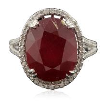 14KT White Gold 12.24ct Ruby and Diamond Ring