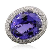 18KT White Gold GIA Certified 30.19ct Tanzanite and Diamond Ring