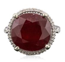14KT White Gold 12.94ct Ruby and Diamond Ring