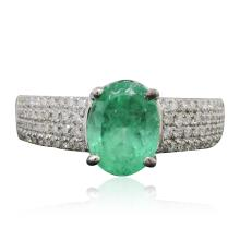 14KT White Gold 1.99ct Emerald and Diamond Ring