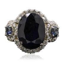 14KT White Gold 5.04ctw Sapphire and Diamond Ring