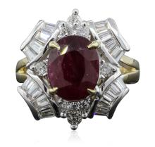 14KT Yellow Gold 3.15ct Ruby and Diamond Ring
