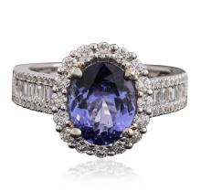 14KT Two-Tone Gold 1.97ct Tanzanite and Diamond Ring