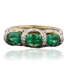 14KT Yellow Gold 1.24ct Emerald and Diamond Ring