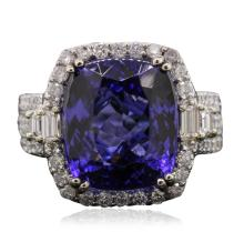 14KT White Gold GIA Certified 11.73ct Tanzanite and Diamond Ring