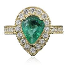 14KT Yellow Gold 1.65ct Emerald and Diamond Ring