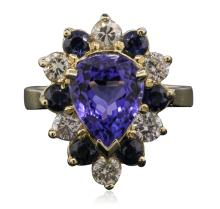 14KT Yellow Gold 3.36ct Tanzanite, Sapphire and Diamond Ring