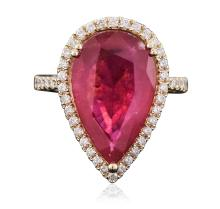 14KT Yellow Gold 9.84ct Ruby and Diamond Ring