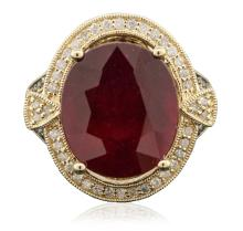 14KT Yellow Gold 13.80ct Ruby and Diamond Ring