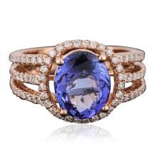 14KT Rose Gold 3.47ct Tanzanite and Diamond Ring