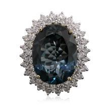 14KT White Gold 19.77ct Topaz and Diamond Ring