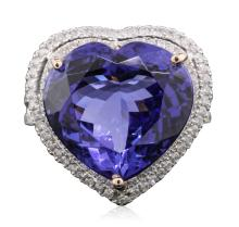 14KT Two-Tone Gold 16.27ct GIA Certified Tanzanite and Diamond Ring