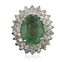 14KT White Gold 4.68ct Emerald and Diamond Ring