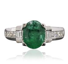 14KT White Gold 1.54ct Emerald and Diamond Ring
