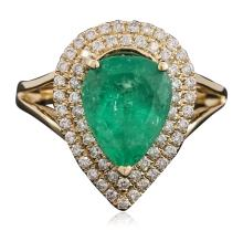 14KT Two-Tone Gold 3.27ct Emerald and Diamond Ring
