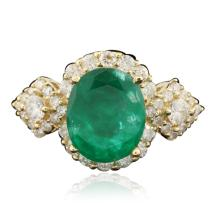 14KT Yellow Gold 3.22ct Emerald and Diamond Ring