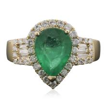 14KT Yellow Gold 2.11ct Emerald and Diamond Ring