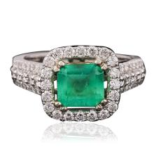 14KT White Gold 2.17ct Emerald and Diamond Ring