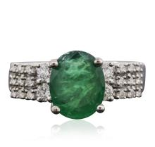 18KT White Gold 3.09ct Emerald and Diamond Ring