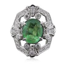 14KT White Gold 4.34ct Emerald and Diamond Ring