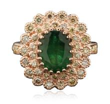 14KT Rose Gold 2.98ct Emerald and Diamond Ring