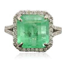 14KT White Gold 7.53ct Emerald and Diamond Ring
