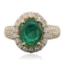 14KT Yellow Gold 2.35ct Emerald and Diamond Ring