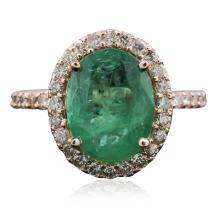 14KT Rose Gold 3.01ct Emerald and Diamond Ring