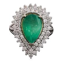 14KT Two-Tone Gold 2.36ct Emerald and Diamond Ring