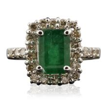 14KT White Gold 3.34ct Emerald and Diamond Ring