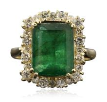 14KT Yellow Gold 3.81ct Emerald and Diamond Ring