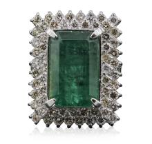 14KT White Gold 14.37ct Emerald and Diamond Ring