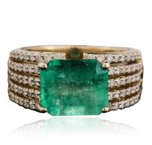 14KT Yellow Gold 4.71ct Emerald and Diamond Ring