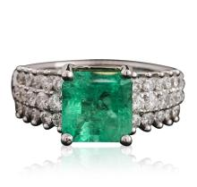14KT White Gold 2.84ct Emerald and Diamond Ring