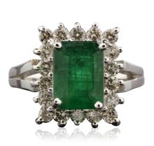 14KT White Gold 2.77ct Emerald and Diamond Ring