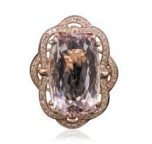 14KT Rose Gold 18.86ct Morganite and Diamond Ring