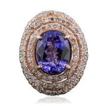 14KT Rose Gold 6.83ct Tanzanite and Diamond Ring