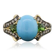 10KT Yellow Gold 2.07ct Turquoise, Tsavorite and Diamond Ring