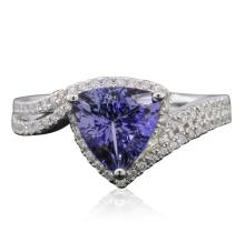 14KT Two-Tone Gold 2.45ct Tanzanite and Diamond Ring