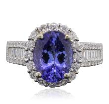 14KT Two-Tone Gold 3.04ct Tanzanite and Diamond Ring
