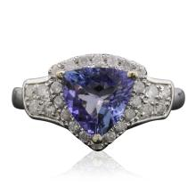 14KT Two-Tone Gold 1.60ct Tanzanite and Diamond Ring