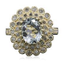 14KT Yellow Gold 2.27ct Aquamarine and Diamond Ring