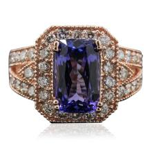 14KT Rose Gold 5.45ct Tanzanite and Diamond Ring