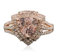 14KT Rose Gold 1.93ct Morganite and Diamond Ring